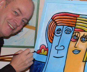 Bild på Åke Westin medan han målar en av sina tavlor.